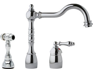 Franke Kitchen Faucet - Arc Spout 2 Hole Mixer Side Spray - Satin Nickel - FHF280