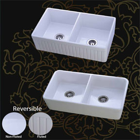 Mitrani Farmhouse Sink - Toscan DB-P Fireclay Double Bowl - Biscuit